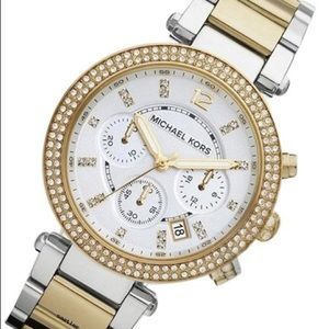 Michael Kors Gold Silver Glitz Dial Watch Women